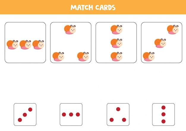 Feuille de travail pédagogique pour les enfants d'âge préscolaire. faites correspondre les cartes avec des points et des escargots par montant.