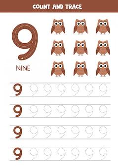 Feuille de travail pour apprendre les nombres avec des hiboux mignons. numéro neuf.