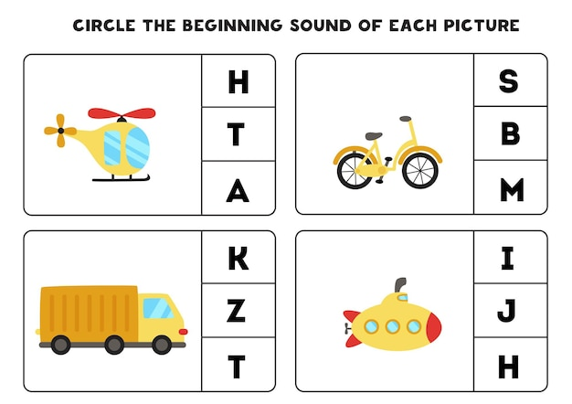 Feuille de travail pour les enfants. trouvez le son de départ. moyens de transport de dessin animé.