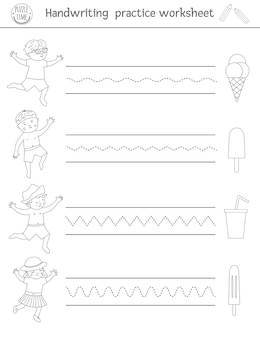 Feuille de travail pratique d'écriture. activité imprimable en noir et blanc pour les enfants d'âge préscolaire. jeu éducatif pour le développement des compétences en écriture. coloriage d'été pour les enfants avec de la glace