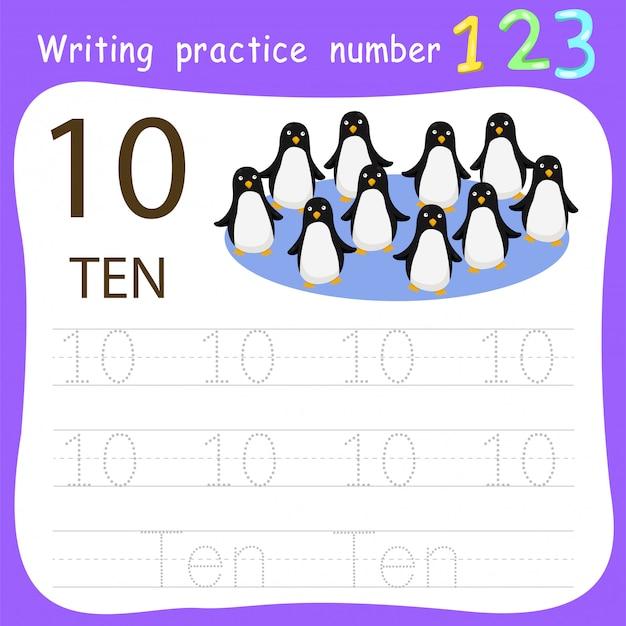 Feuille de travail pratique d'écriture numéro dix