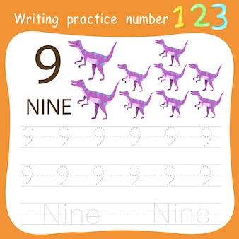 Feuille de travail pratique d'écriture numéro neuf