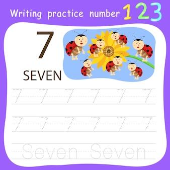 Feuille de travail pratique d'écriture numéro sept