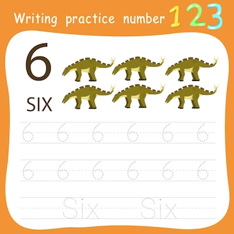 Feuille de travail pratique d'écriture numéro six