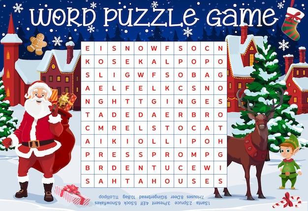Feuille de travail de puzzle de mot joyeux noël avec le père noël