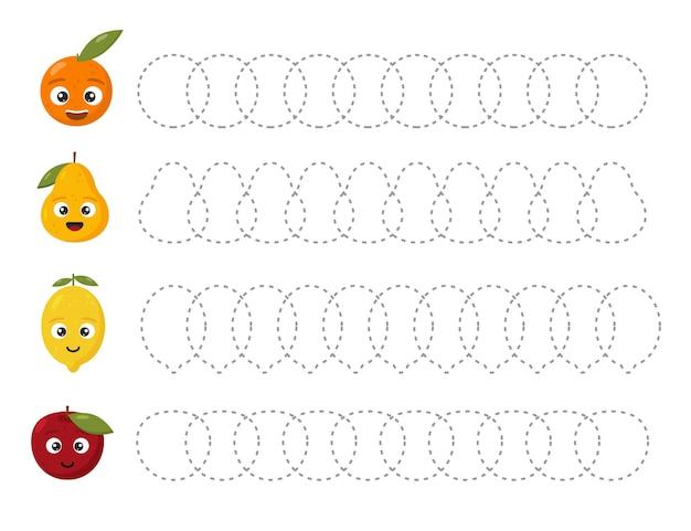 Feuille de travail de traçage éducatif pour les enfants. tracez les fruits. lignes en pointillé