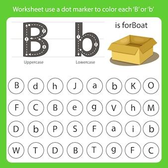 La feuille de travail utilise un marqueur à points pour colorer chaque b