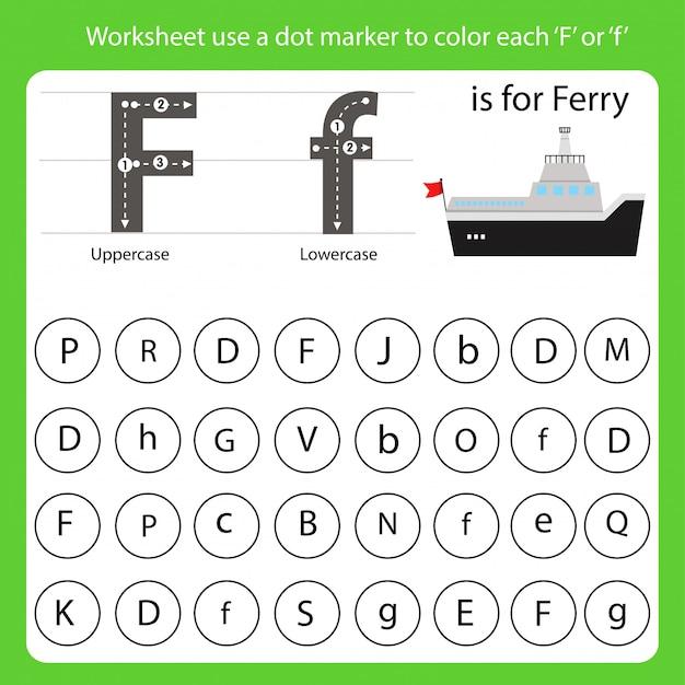 La feuille de travail utilise un marqueur à points pour colorer chaque f