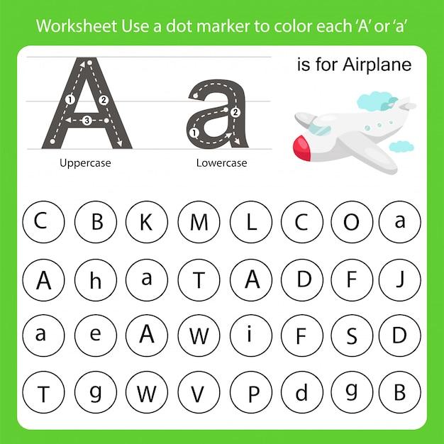 La feuille de travail utilise un marqueur à points pour colorer chaque a