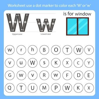 La feuille de travail utilise un marqueur de points pour colorier chaque w