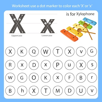 La feuille de travail utilise un marqueur de points pour colorier chaque x