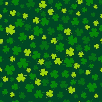 Feuille de trèfle design plat toile de fond vert motif de fond illustration vectorielle