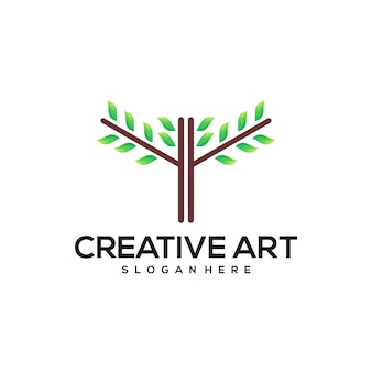 Feuille trois logo dégradé vert naturel