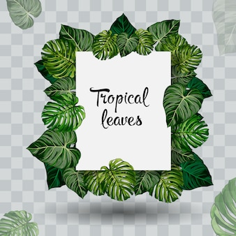 Feuille tropicale d'été. style de coupe du papier.
