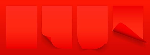 Feuille vierge de papier rouge avec coin recourbé et ombre, modèle pour votre. ensemble.