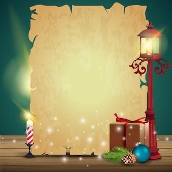 Une feuille de vieux papier avec un cadeau et une vieille lanterne