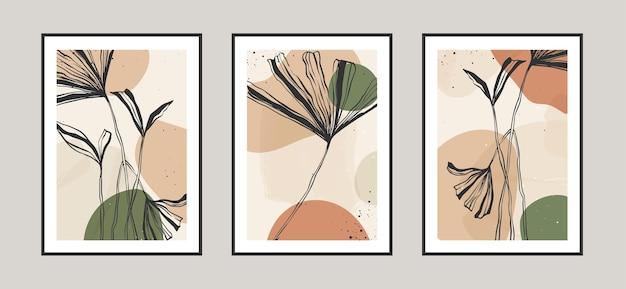 Feuilles abstraites modernes fond d'art de ligne avec différentes formes pour carte postale de décoration murale