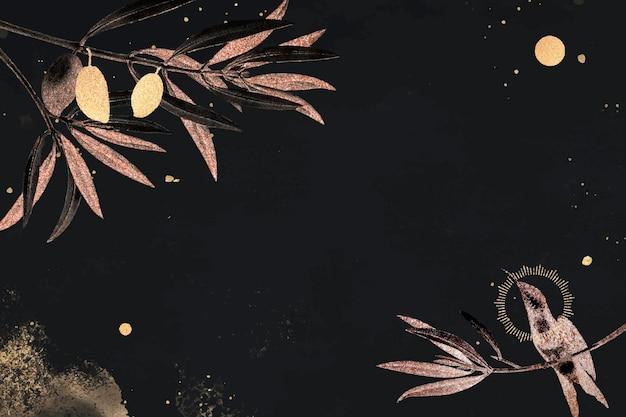 Feuilles d'arbre d'automne sur fond noir