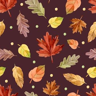 Feuilles d'automne aquarelle transparente motif sur fond marron foncé