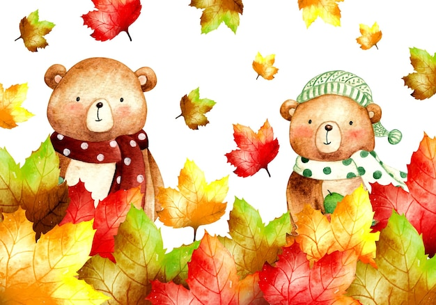 Feuilles d'automne automne aquarelle avec bannière de fond d'ours