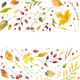 Feuilles d'automne cadre carré aquarelle avec place pour le texte