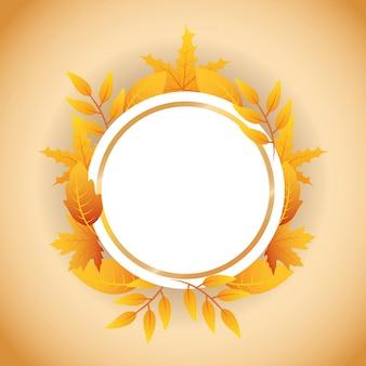Feuilles d'automne cadre circulaire
