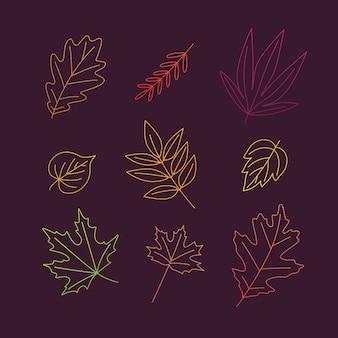 Feuilles d'automne contour de l'élément vectoriel