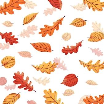 Feuilles d'automne dessinées à la main tombant