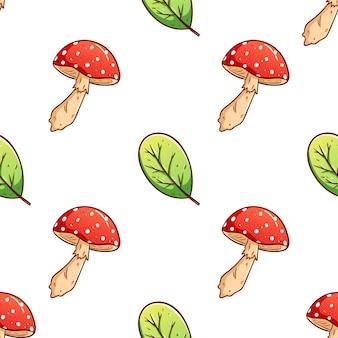 Feuilles d'automne dessinés à la main colorés et fond transparent aux champignons