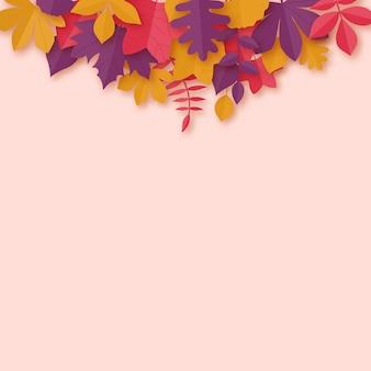 Feuilles d'automne fond d'art style papier.
