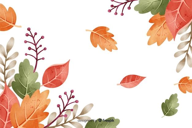 Feuilles d'automne fond style aquarelle