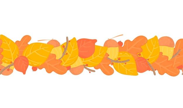 Feuilles d'automne fond transparent, bordure avec des feuilles d'automne jaunes, conception de branches. nature, articles organiques.vector