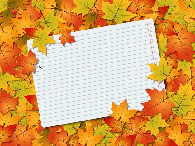 Feuilles d'automne fond de vecteur avec une feuille vierge