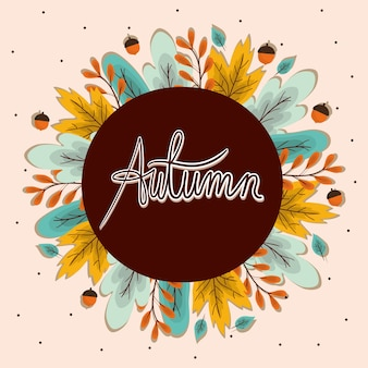 Feuilles d'automne et glands autour de la conception du cercle, thème de la saison