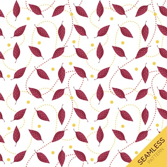 Feuilles d'automne avec des lignes de points seamless pattern