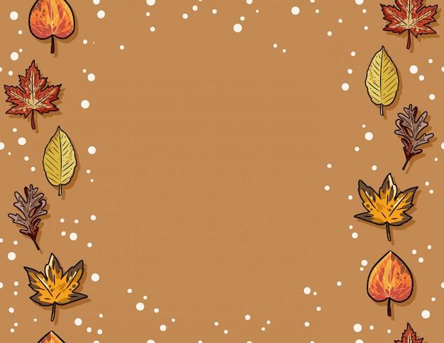 Feuilles d'automne mignon modèle sans couture. fond de cadre de décoration d'automne