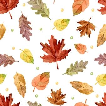Feuilles d'automne modèle sans couture aquarelle