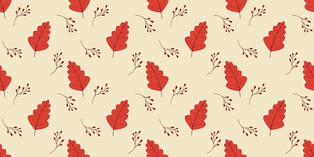 Feuilles d'automne modèle sans couture dans les couleurs orange, beige, marron.