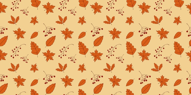 Feuilles d'automne modèle sans couture en orange, beige, marron et jaune.