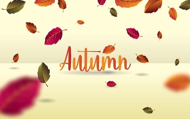 Feuilles d'automne tombant. feuillage automnal avec des feuilles floues. illustration vectorielle