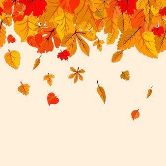Les feuilles d'automne tombent fond isolé modèle d'affiche automne doré