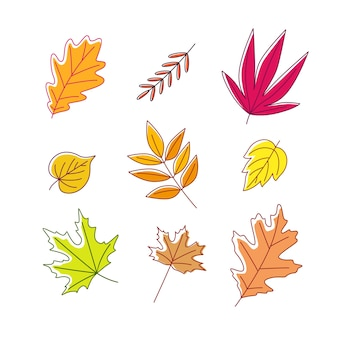 Feuilles d'automne vector élément contour remplir