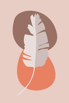 Feuilles de bananier dans un style bohème oeuvre d'art à la mode abstraite minimaliste illustration vectorielle simple à plat
