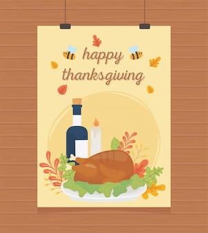 Feuilles de bougie de vin de dinde rôtie suspendus heureux affiche de thanksgiving