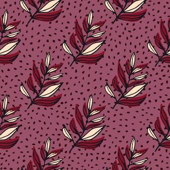 Feuilles branche contour modèle sans couture abstraite. ornement botanique rouge profilé sur fond lilas foncé avec des points.