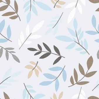 Feuilles et branches de forêt élégante modèle sans couture dans un style scandinave. papier peint floral sans fin.