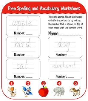 Feuilles de calcul de l'alphabet anglais