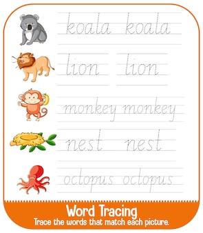 Feuilles de calcul de traçage de l'alphabet anglais