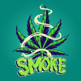 Feuilles de cannabis fumées avec des illustrations de nuages