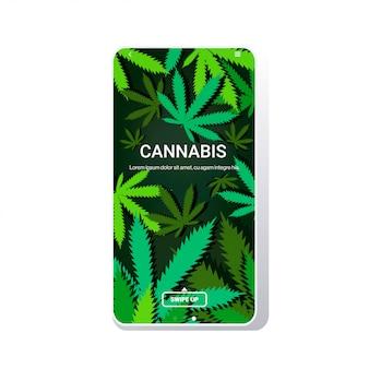 Feuilles de cannabis ou de marijuana écran mobile copie espace
